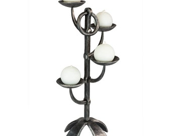 Hand-forged wrought iron candlestick - blacksmith made - candle holder for four candles - unique piece - iron candle holder forged by hand