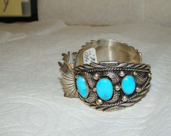 NA 3-K Sterling & Turquoise NA Watch Bracelet