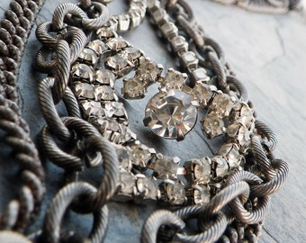 multi chain necklace, silver, vintage rhinestone, layered chain, triple strand