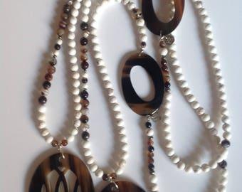 Long horn beads semi precious, agate and magnesite