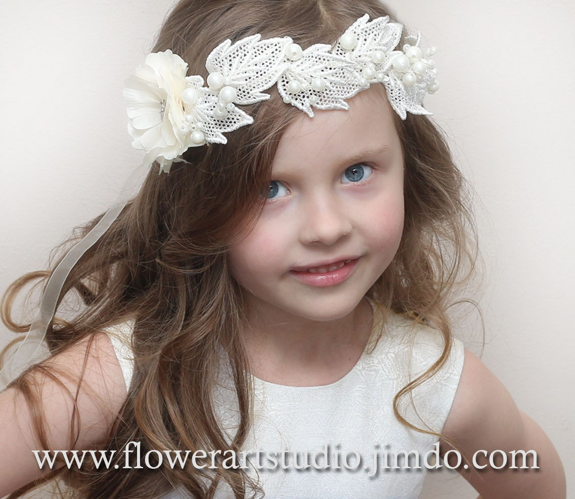 Ivory or white flower girl crown girl hair wreath baby zoom izmirmasajfo