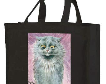 Louis Wain Blue Russian Cat Cotton Shopping Bag with gusset and long handles,