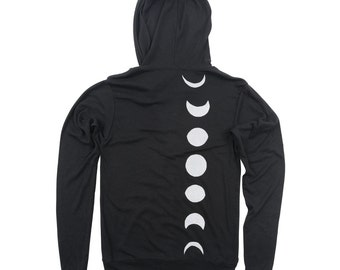 Moon Phase Zip Hoodie, Clothing Gift Girlfriend Boyfriend, Astronomy Sweatshirt Men Women, Black LIGHTWEIGHT Unisex Zip Up Hoodie, S-XL