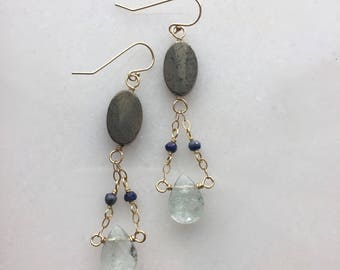 Fluorite Drop Earrings / Gold and Green / Gemstone Earrings /