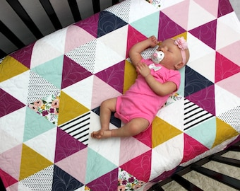 Triangle Baby Bedding, Floral Girl Crib Quilt, Modern Mustard Pink Gold Baby Quilt