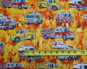 5 Alarm Fire Fighter Trucks Men Silhouette on Flames BY YARDS QT Cotton Fabric