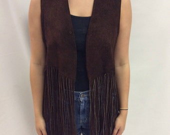 Vintage Women's Brown Suede Leather Vest with Fringe