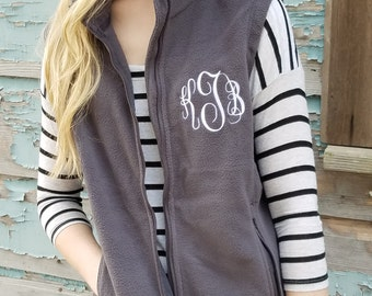 Monogrammed Fleece Vest, Christmas Gift for Her under 30 a7