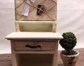 Shabby Chic/Cottage Style Miniature Cabinet with Pin Board - Lightly Distressed Old White