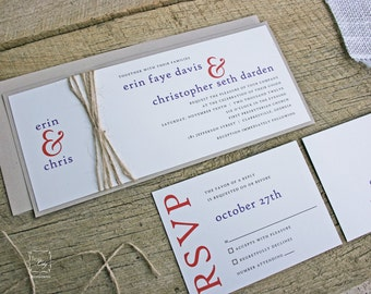 Rustic Wedding Invitation Set in Modern Rustic Twine Invitation Design - Sample