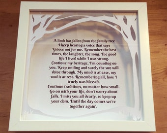 Bereavement gift frame, Remembering a loved one, sympathy gift, someone in heaven, memorial keepsake, rememberance gift, papercut mount.