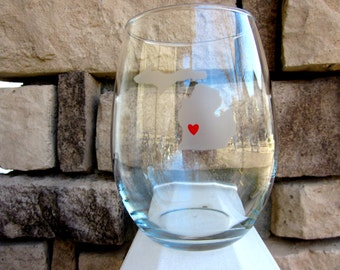 I LOVE Michigan- Etched Stemless Wine Glass