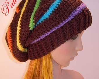 "Candy Rainbow Slouch Hat """"""P A T T E R N"""""""