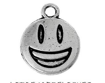 SET of 10 charms smile, smiling face silver smile (D02)