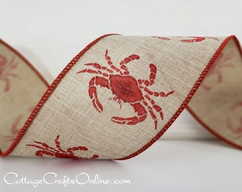 "Wired Ribbon, 2 1/2"" Red Crab on Tan Faux Linen - TEN YARD ROLL -  ""Crab Natural"" Summer, Americana, Seafood Wire Edged Ribbon"