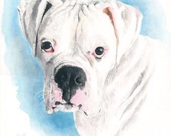 Boxer dog. Pet portrait. Boxer art. Boxer gifts. Boxer dog art. Boxer painting. Custom pet portrait