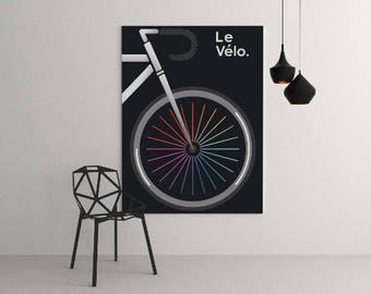 Le Velo Noir Art Print Tour De France Cycling Jerseys Bicycle Tour De Yorkshire Bicycle Art Print Yellow Jersey Velo Bike The Grand Depart