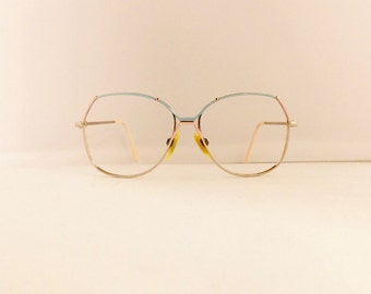 80s Eyeglasses Frames // Women's 1980's //Silver Baby Blue Pink Frames //Made in Italy//#M230