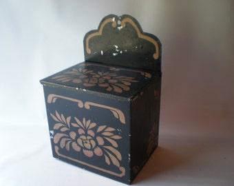 Vintage Stenciled Tin Match Box