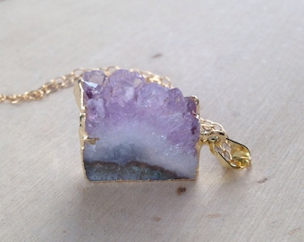 Amethyst Necklace: Petite Gold Dipped Amethyst Necklace, Raw Amethyst Necklace, Amethyst Slice Necklace, Amethyst Pendant, Amethyst Geode
