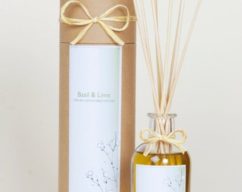 SALE-Basil Flower & Lime - Natural Rattan Reed Diffusers
