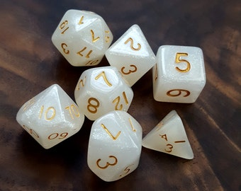 White Sparkle Polyhedral Dice Set