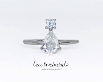 Aquamarine ring / engagement ring / pear cut ring / pear shaped ring / white topaz ring / Sterling silver ring / promise ring