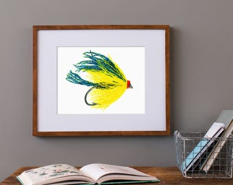 Watercolor Trout Fly, Fly Fishing Gifts, Fishing Lure Art, Fishing Gifts for him, Art for Man Cave, Men's Christmas gift, Bass fly art