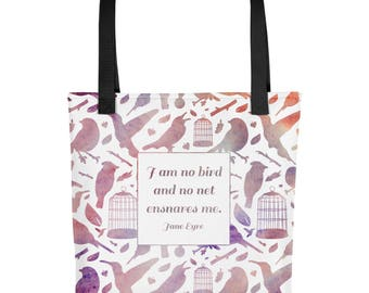 I Am No Bird Jane Eyre Quote Literary Tote Bag | A Bookish Tote Bag Perfect for Grocery Shopping, Library Visits and Gym Dates