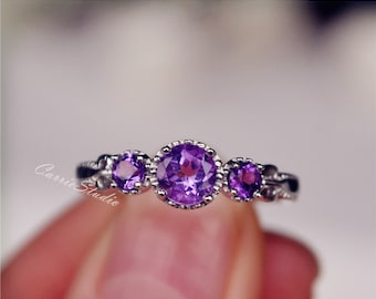 Antique Delicate Natural Amethyst Ring Amethyst Engagement Ring Wedding Ring Sterling Silver Ring Anniversary Ring Birthday Present/Gift