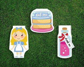 Magnetic Bookmark Set | Alice's Adventures In Wonderland Magnet Cute Book Bookmarks Pack of 3, Magnetic Cute Quirky Kawaii, Eat Me, Drink Me