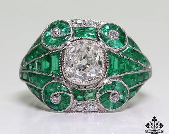 Antique Art Deco Platinum Diamond & 2.7ct. Emerald Ring
