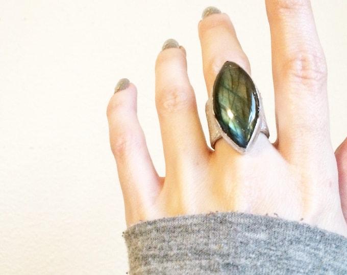 Labradorite Silver Cuff Ring, Size 5.75