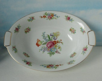 AICHI China Floral Oval Serving Bowl. Made in Occupied Japan