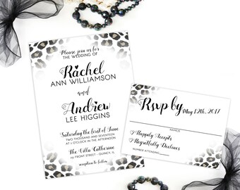 Leopard Print Wedding Invitation and RSVP Card Animal Print Party Invitation Black and White Printable Invitation DIY Modern Invitation