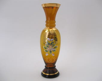 Bohemian Amber Glass Vase, Hand Painted Floral Gold Rim and Foot / Home Decor Gift