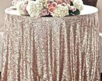 "Sequin Table cloth 90""x156"" rectangular gold/blush/silver"
