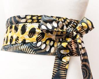 Gold African Print Obi Belt   African Wax Print Obi Corset Belt   Wax Print Belt   Wide Belt Corset Belt  plus size belts  African Print
