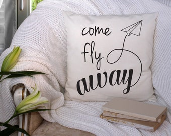 Come Fly Away Throw Pillow | Home decor | Pillow | Couch Pillow | Bedding | Decorative | airplane