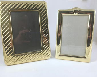 Brass Picture Frames,  2 Vintage Picture Frames, Free Standing, Wall Decor, Glass and Brass, Rectangle Brass Frames, Desk Decor