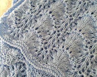 Shells & Lace Baby Blanket ~ Knitting pattern ~ PDF