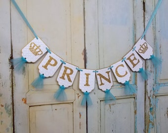 Boys Name Banner with Crowns, White Turquoise and Gold Birthday Decoration, Royal Birthday Banner, Royal Prince Birthday Sign, Cake Smash