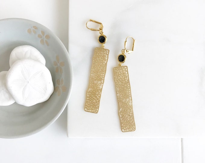Gold Rectangle and Jet Black Jewel Dangle Earrings.  Statement Earrings. Jewelry Gift for Her.  Modern Fashion Earrings. Gift. Jewelry. .
