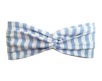 Headband Baby Blue Stripe, Pretty Hair Band, Twist Hairbands, Stretchy Turban Headband, Boho Headbands, Yoga Headband, Running Hairband