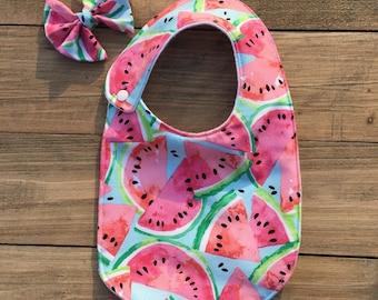 Watermelon Harper Snap Bib