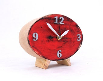 Table Clock, Wood Red Clock, Ellipse Desk clock, Red Black Silver Oval clock, Distressed Mantel clock, Autumn  decor, Office desk, Xmas gift