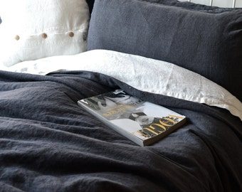 Peppercorn Heavy Weight Rustic Linen Duvet cover. Dark gray linen. Charcoal linen. All sizes.