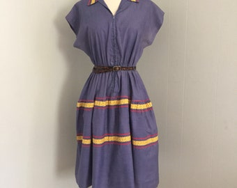 SALE! 1960s Step-'n-Go housedress ~ Denim Blue ~ Red Rick Rack ~ Petite Small ~ Yellow Calico ~ Front Zip ~ by Kay Whitney