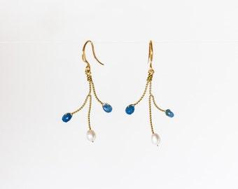 654_Nephrite earrings, Blue jade earrings, Gold earrings, Wedding pearl jewellery, Blue jewellery, Nephrite jewellery, Something blue.