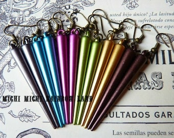 Metallic Colors Spikes Gothic Earrings